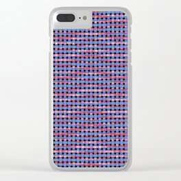 Blue and Pink Weave Pattern Clear iPhone Case