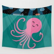 Octopus Selfie at Night Wall Tapestry