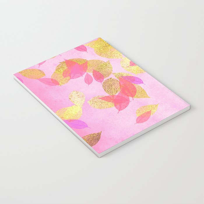 Autumn-world 5 - gold glitter leaves on pink background on #Society6 Notebook