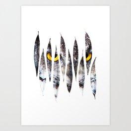Owl Leaves Art Print