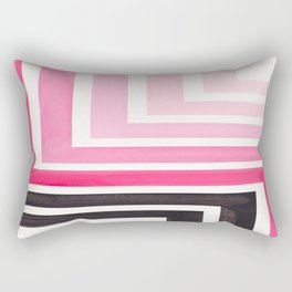 Pink Mid Century Modern Watercolor Colorful Ancient Aztec Art Pattern Minimalist Geometric Pattern Rectangular Pillow