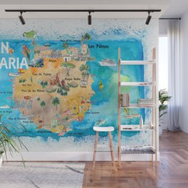 Gran Canary Canarias Spain Illustrated Map with Landmarks and Highlights Wall Mural