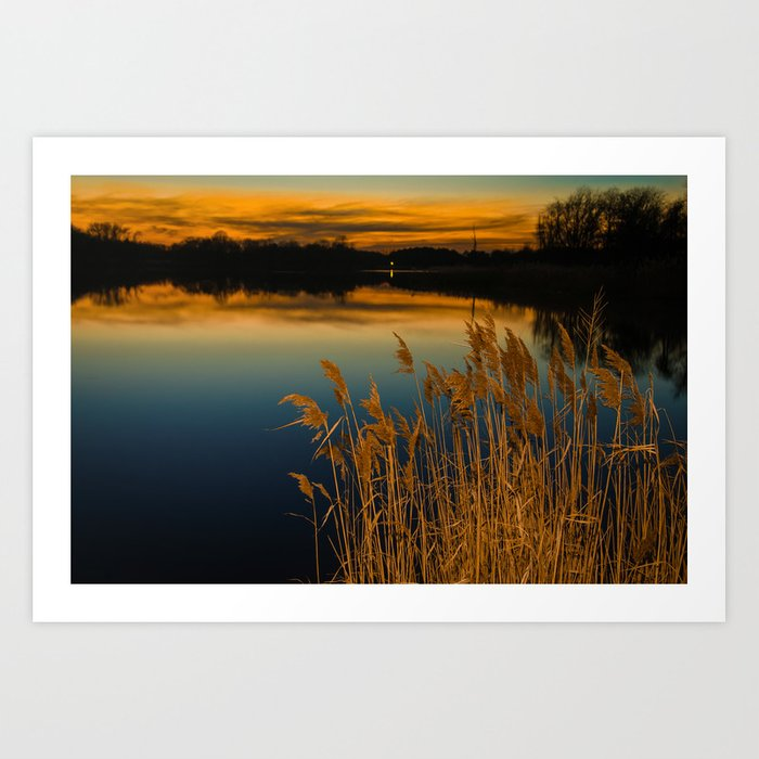 Sunset at Reedy Point Pond Rustic Landscape / Nature Photograph Art Print
