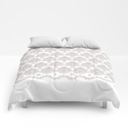 Off-White Damask Chenille with Lace Edge Comforters