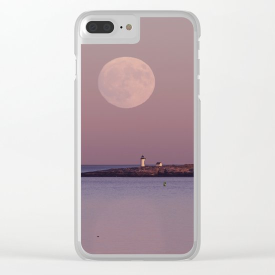 Lighthouse Moonrise Clear iPhone Case