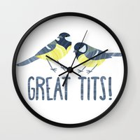 tits Wall Clocks featuring Great Tits! by BaconFactory