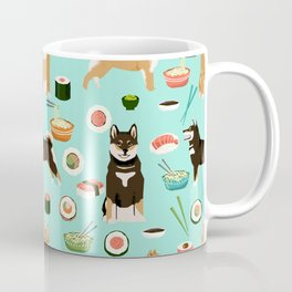 Shiba Inu noodles pho food cute dog art sushi dogs pet portrait pattern Coffee Mug