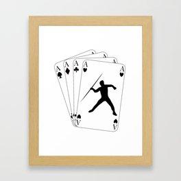 Javelin Throw on Poker Cards 4 Aces for Javelin Thrower Framed Art Print