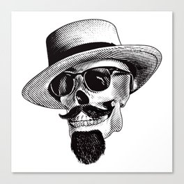 Hipster Skull in Black and White Canvas Print