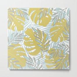 Gold Monstera Leaf On White Metal Print