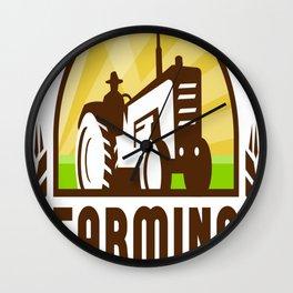 Tractor Wheat Organic Farming Crest Retro Wall Clock