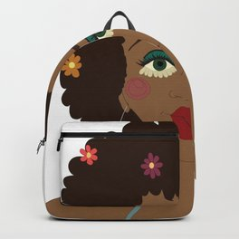 Digital illustration drawing 70s hippie girl flower power Backpack