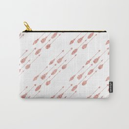 Elegant chic pink faux glitter arrows feathers Carry-All Pouch