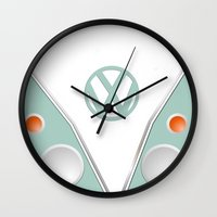 vw Wall Clocks featuring Simplistic VW by AshyGough