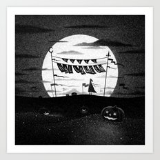 Drawlloween 2015: Happy Halloween (Black & White) Art Print