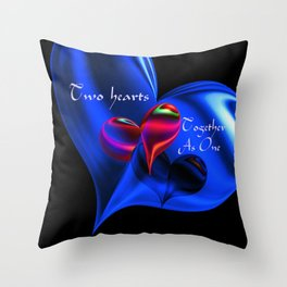 Two Hearts Together As One Throw Pillow