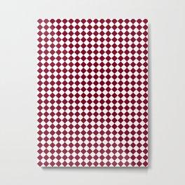 Small Diamonds - White and Burgundy Red Metal Print