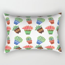 Whimsical orange green watercolor hand painted cactus floral Rectangular Pillow