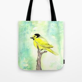 Hooded warbler in watercolor Tote Bag
