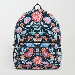 Happy Folk Summer Floral on Navy Backpack