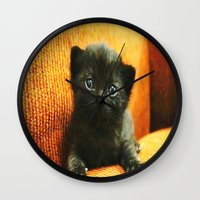 kitten Wall Clocks featuring kitten by Bar Morrison