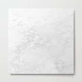 White Marble Silver Glitter Gray Metal Print