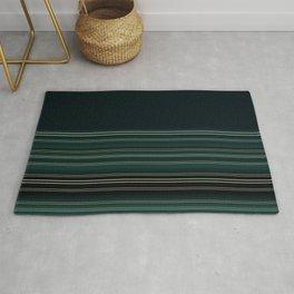 Dark Emerald Green Gold Stripes Rug