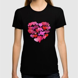 Watercolor hearts romantic design T-shirt