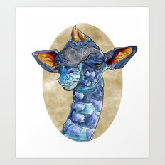 Zen Giraffe - Watercolour Art Print