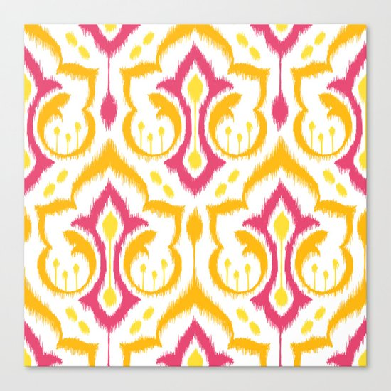 Ikat Damask - Berry Brights Canvas Print