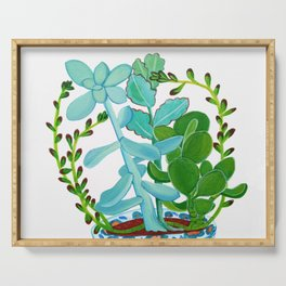 Indian Pot with Succulents Serving Tray