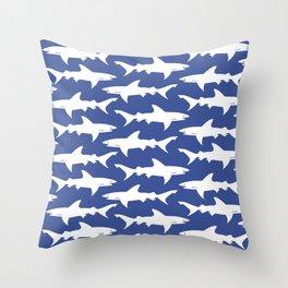 School of Sharks Blue Ocean Throw Pillow