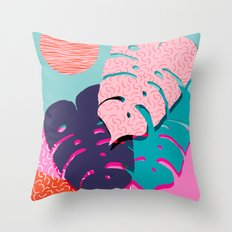 Mega - throwback memphis 1980's 80's 80s style art print bright colorful happy plants nature chic Throw Pillow