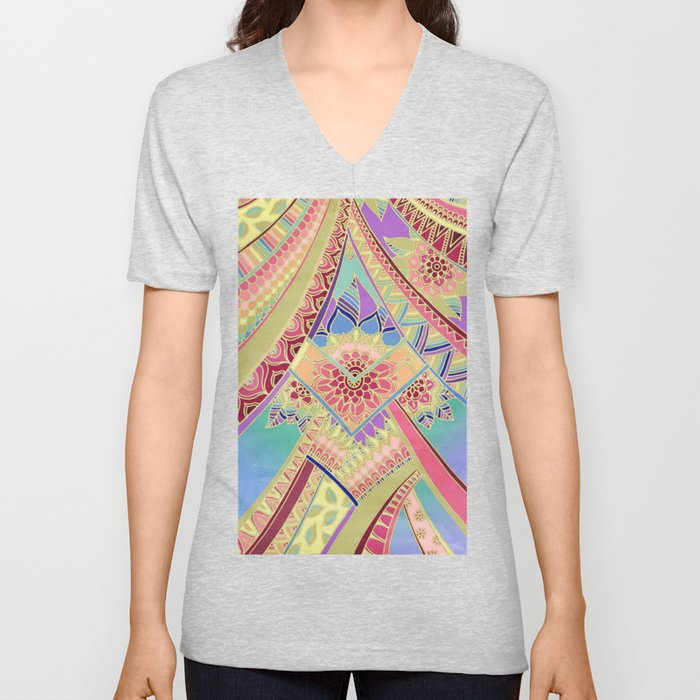 Rise and Shine - Rainbow Hued, Multi-Colored Doodle Unisex V-Neck