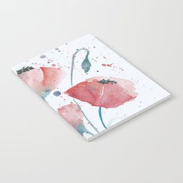 Red poppies in the sun floral watercolor painting Notebook