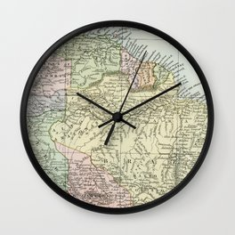 South America Vintage Map Wall Clock