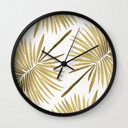 Tropical Fan Palm – Gold Palette Wall Clock