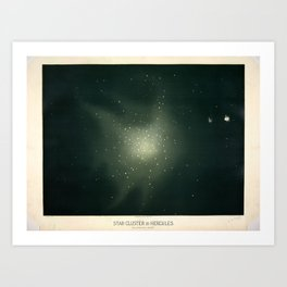 Star clusters in Hercules by Étienne Léopold Trouvelot (1877) Art Print