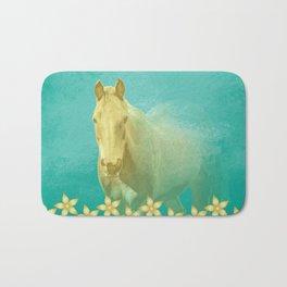 Golden ghost horse on teal Bath Mat