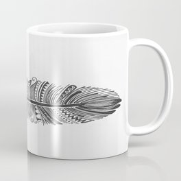 Black and White Feather Zen Coffee Mug