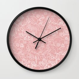 wrappingpaper pastel salmon Wall Clock