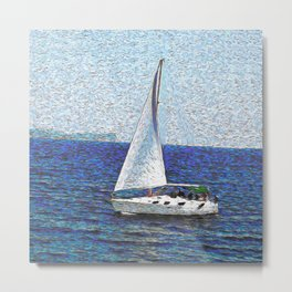 Summer / Sea / Yacht / Blue oil painting Metal Print