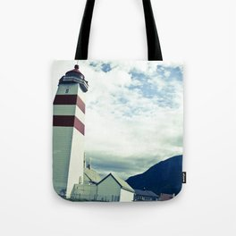 Lighthouse in norway Tote Bag
