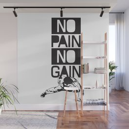 Gym Quote: No Pain No Gain. Workout Motivation, Push Up Man Wall Mural
