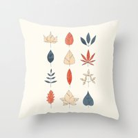 leaves Throw Pillows featuring Leaves by Tracie Andrews