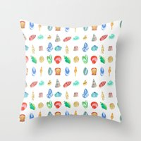 shells Throw Pillows featuring Shells by Louise Kjeldsen
