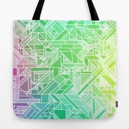 Bright Gradient (Violet Purple Lime Green Neon Yellow) Geometric Pattern Print Tote Bag