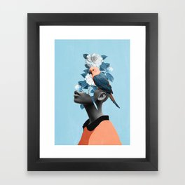 Girl with parrot Framed Art Print