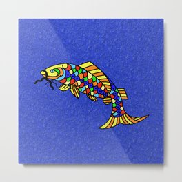 Bright Bold Colorful Fancy Abstract Pop Art Fish Metal Print
