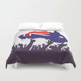 Australian Map And Flag with Audience Duvet Cover